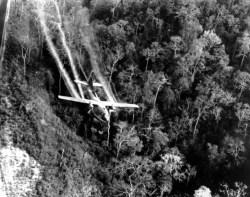 Un avion américain disperse l'agent orange au-dessus du Vietnam du Sud, 1966 // AP Photo, Department of Defense