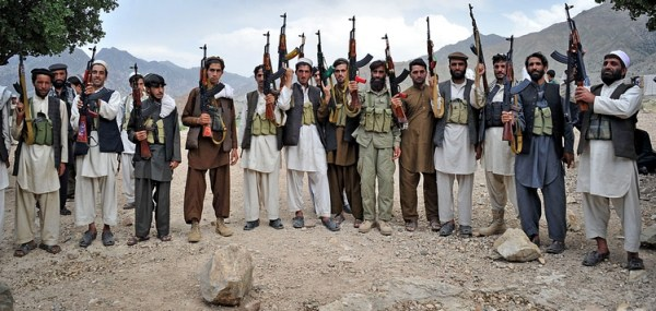Armed Afghan villagers raise their weapo