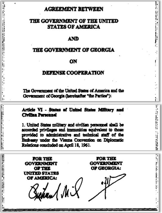 L'accord USA-Géorgie accorde le statut diplomatique au personnel civil et militaire  américain (y compris les véhicules diplomatiques) travaillant sur le programme du Pentagone en Géorgie.
