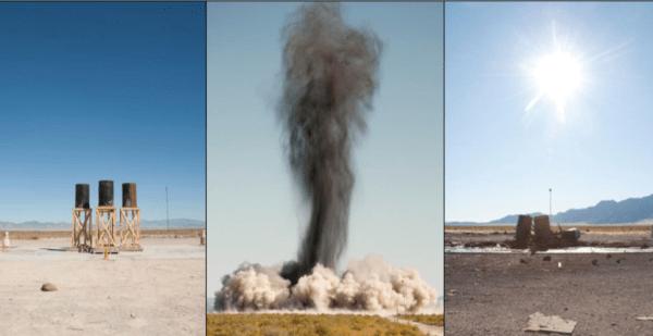 Dissémination de stimulants par des explosifs. (©Dugway Proving Ground)
