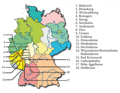 Carte des camps américains de soldats allemands prisonniers de guerre