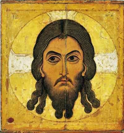 La Sainte Face de Jésus. Icône anonyme, vers 1100. Moscou, galerie Tretiakov. Wikipédia