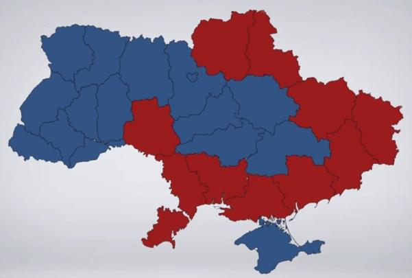 """Les zones sous la loi martiale sont en rouge (Notez que c'est une carte """"ukie"""". C'est eux qui ont mis la Crimée en bleu, pas moi !)"""