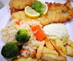 resepi-fish-chips-with-garlic-butter-rice