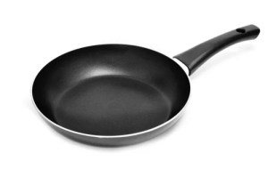 a nonstick frying pan on a white background