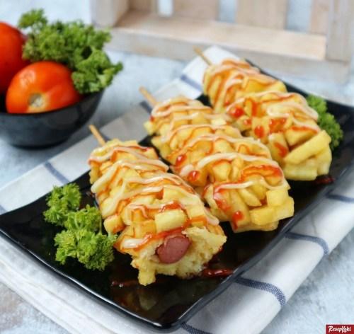 Gambar Hasil Membuat Resep Hotang (Hotdog Kentang) / Sostang (Sosis Kentang)