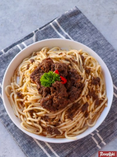 Gambar Hasil Membuat Resep Spaghetti Rendang