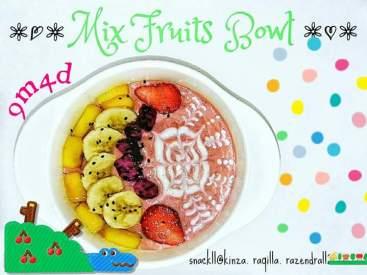 resep MPASI mix fruits bowl rasa strawberry oatmeal