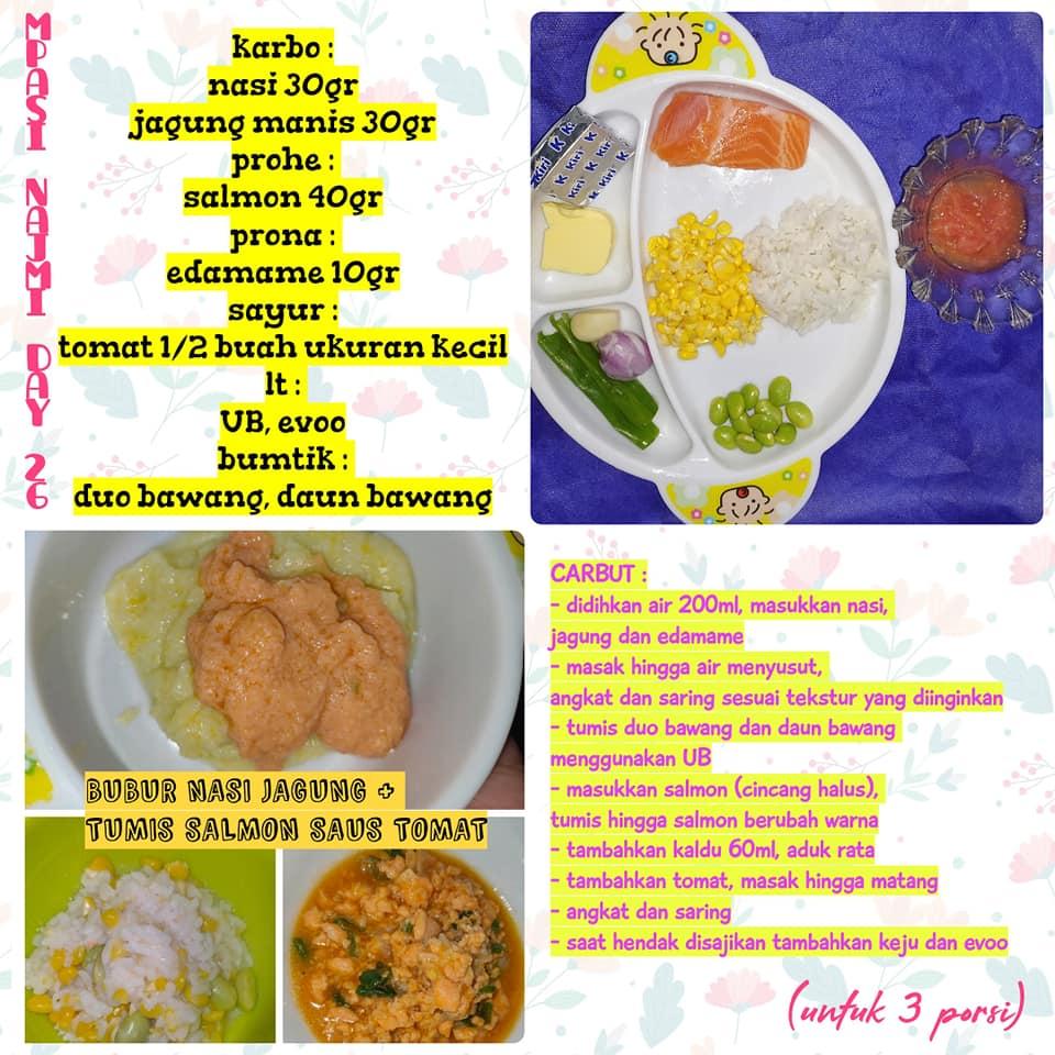 Resep MPASI Bubur Nasi Jagung+Tumis Salmon Saus Tomat