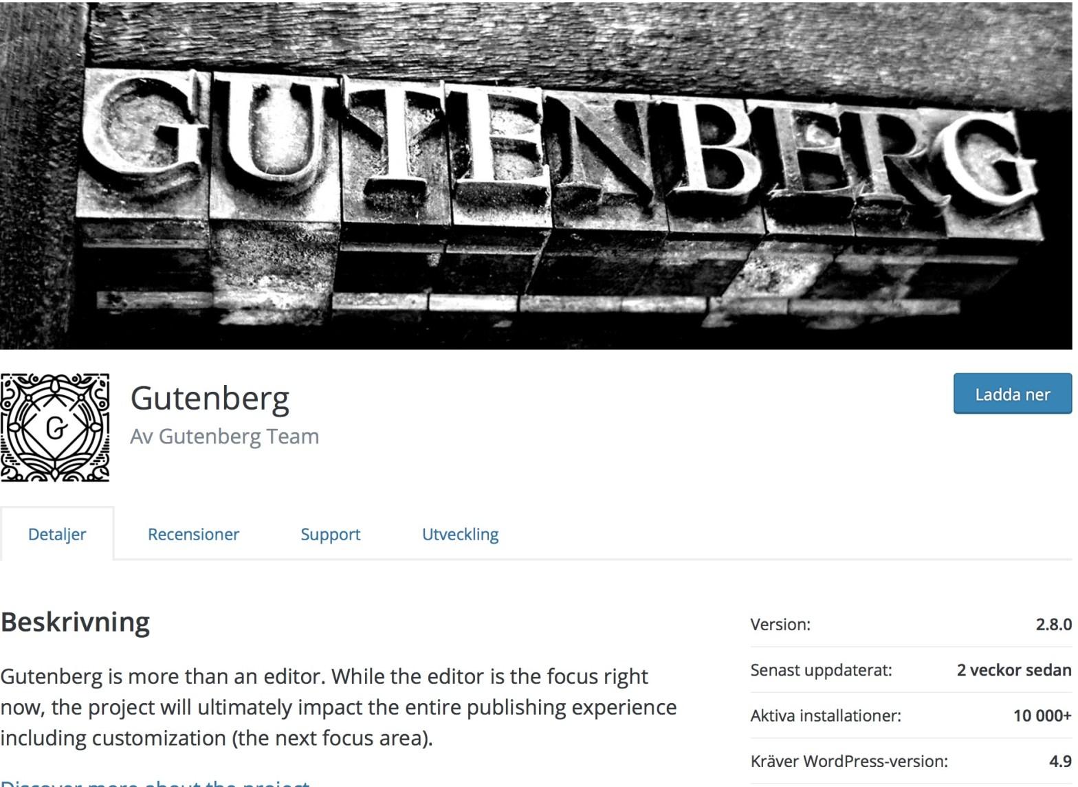 Gutenberg insticksprogram för WordPress 2018