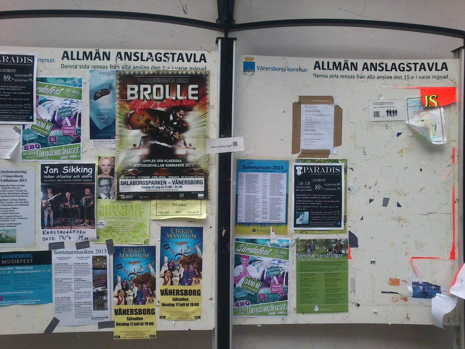 Anslagstavla Vänersborg, juli 2013