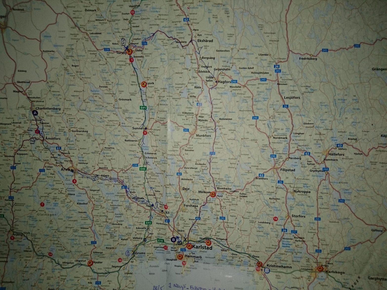 Värmlandskarta med Reseppraktikans resrutt 2018