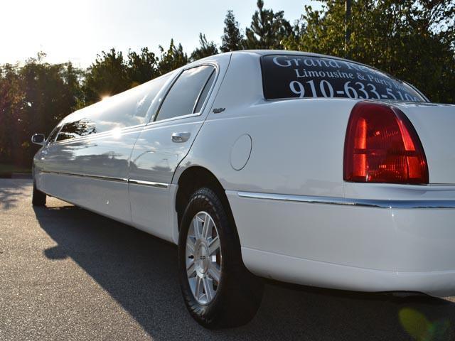 Greensboro NC white limo exterior