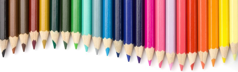 Top view of colored pencils frame arranged on white background.Similar: