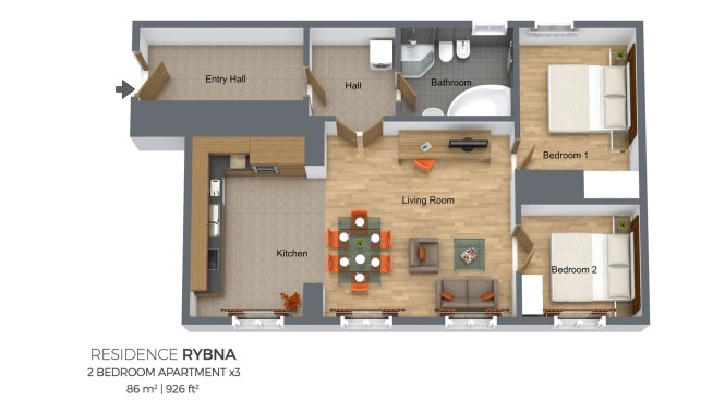 Two Bedroom Apartment Type 3 Residence Rybna