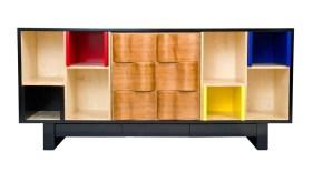 Buffet Mondrian – Merisier sculpté et niches laquées