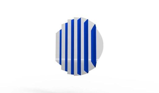 Miroir ZIG ZAG, design Fabrice Berrux, 1 560 € - facettes en aluminium laqué bleu.