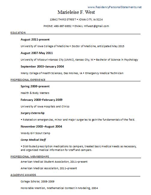 Residency application resume