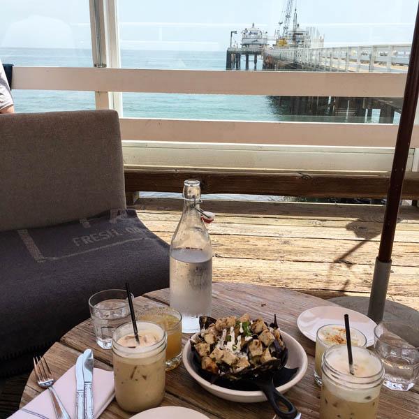 Malibu Farm restaurant food on the Malibu Pier - black bean Nachos