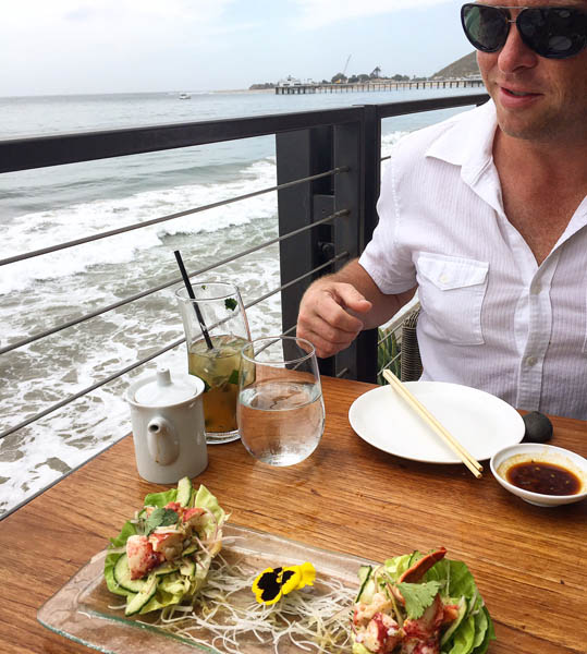 Nobu with Malibu pier in the background - new brunch menu offers lobster appetizer