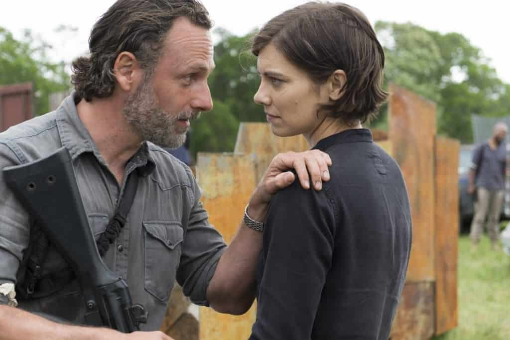 Andrew Lincoln as Rick Grimes, Lauren Cohan as Maggie Greene - The Walking Dead _ Season 8, Episode 1 - Photo Credit: Gene Page/AMC