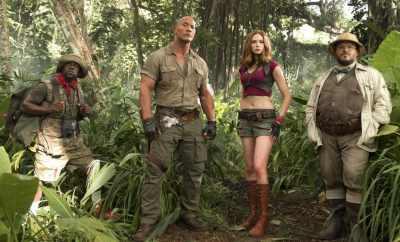 Jack Black, Karen Gillan, Dwayne Johnson, Nick Jonas and Kevin Hart - Jumanji: Welcome To The Jungle Review