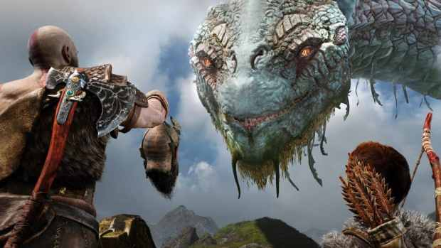 Kratos and Atreus with the serpent - God Of War Review