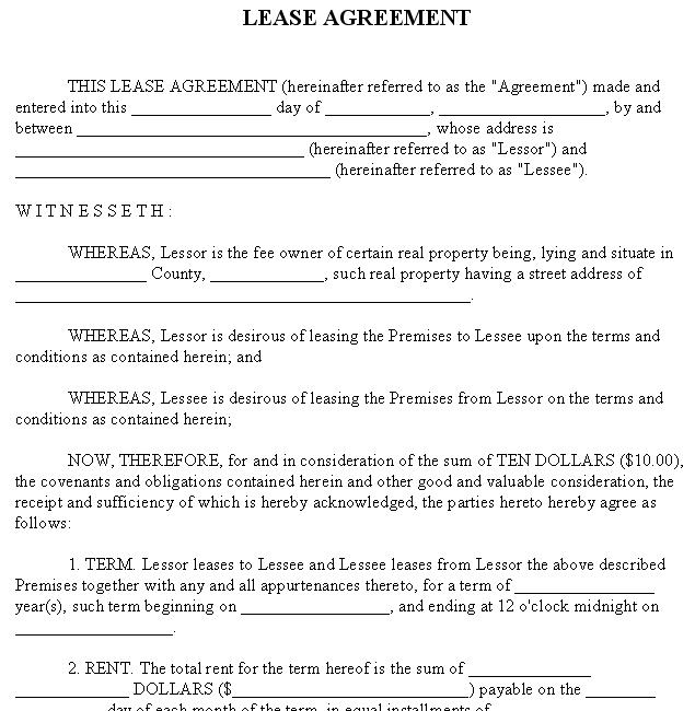 Tenant Lease Template. graphics and. for format of agreement ...