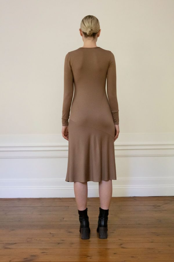 Tora tencel dress brown from the back