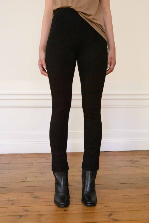 LOU ECOVERO STRAIGHT PANTS BLACK