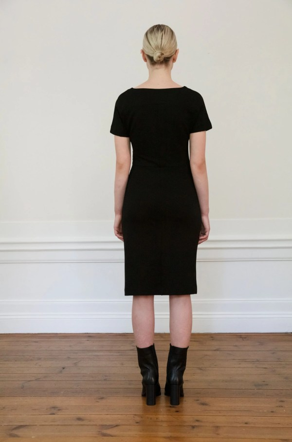 Residus dress Eve Black from the back