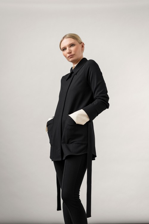 toon tencel collar top and Lyle Ecovero Jacket black on top of it