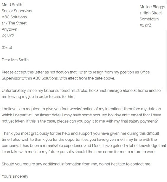 Resignation Letter Example  Due To Family Illness  Resignation