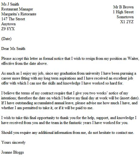 Resignation Letter Example For A Waiter  Waitress  Resignation
