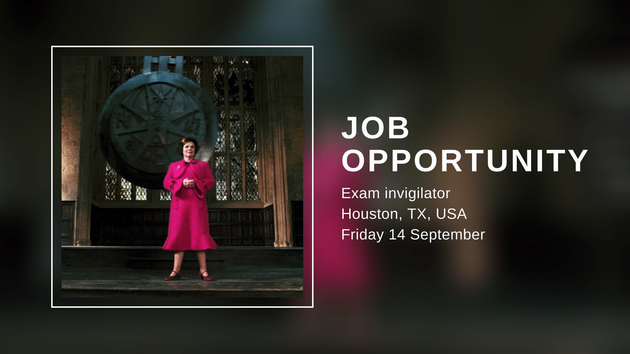 Job opportunity     Exam invigilator in Houston  TX on Friday 14     Job opportunity     Exam invigilator in Houston  TX on Friday 14 September    The Resilience Post
