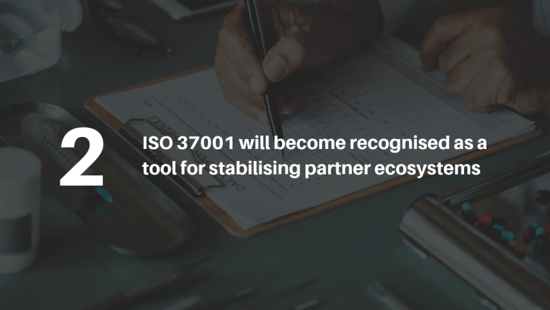 ISO 37001 will become recognisedas a tool for stabilisingpartner ecosystems