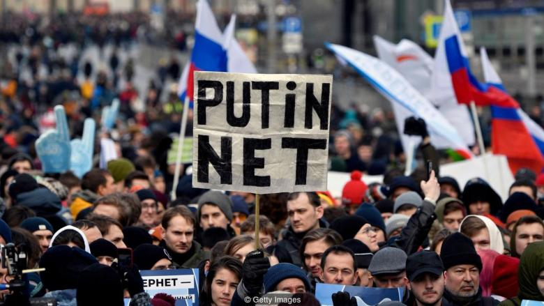 Russia's increasingly restrictive internet policies have sparked protests across the country, including this demonstration in Moscow in March 2019