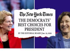Elizabeth Warren Amy Klobuchar Share the NYT Endorsement