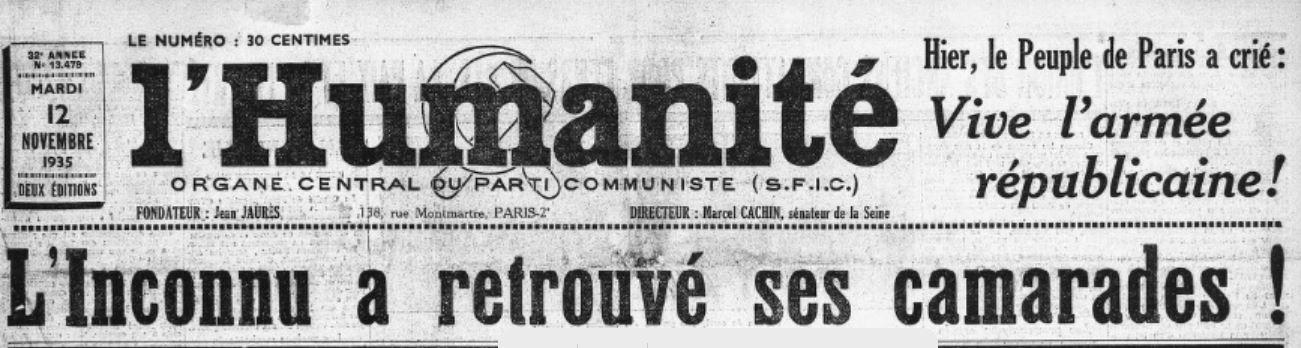 « L'Humanité », 12 novembre 1935