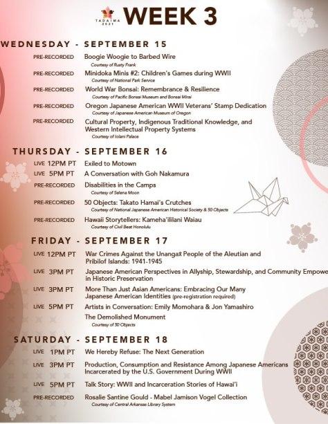 Tadaima! Week 3 schedule