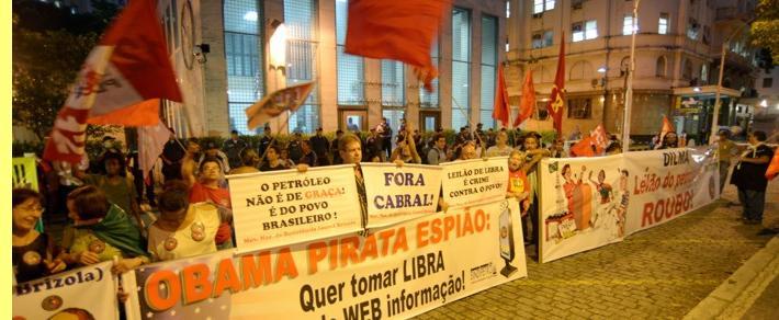 Protesto junto ao consulado dos EUA no Rio de Janeiro.