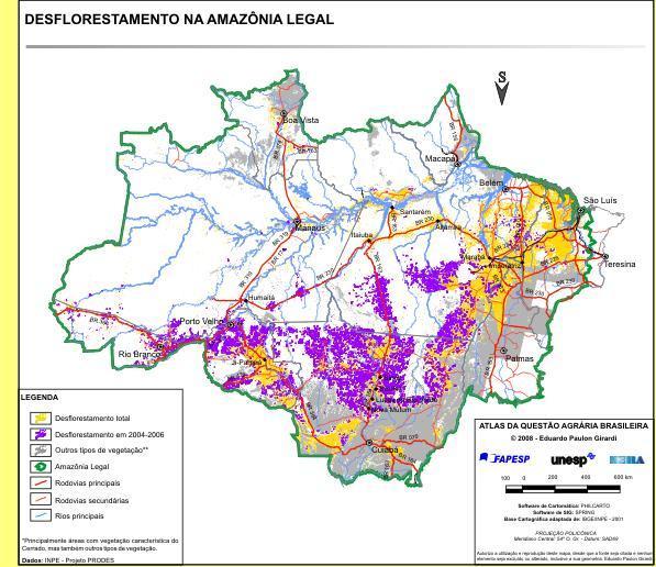 Desflorestação da Amazónia.