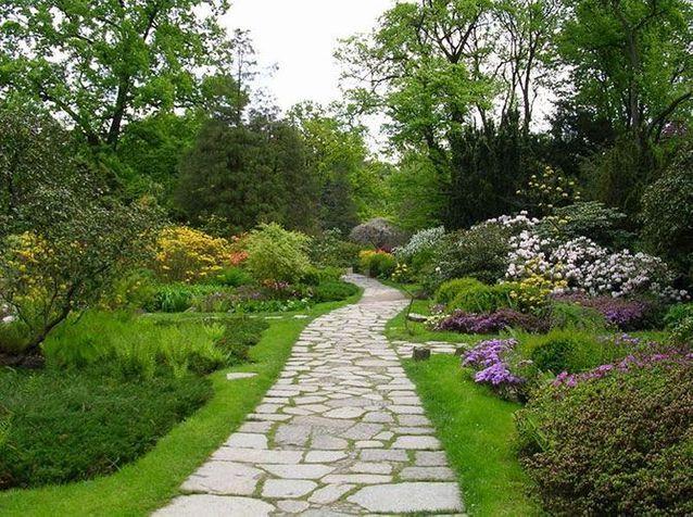 une allee de jardin en pierres elle