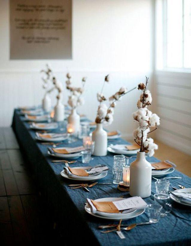 decoration de table hiver jouez la delicatesse avec le coton