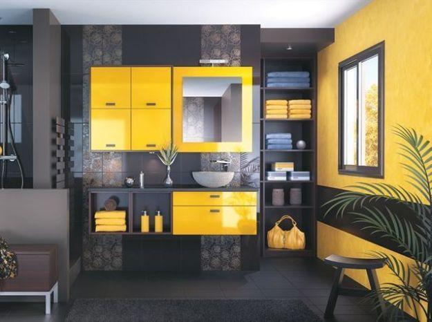 Salle de bains jaune noir mobalpa