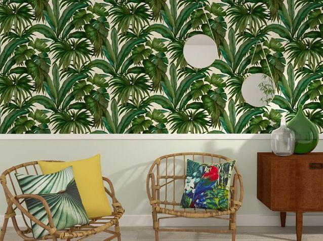 La Tendance Du Jour Le Papier Peint Tropical Elle Decoration