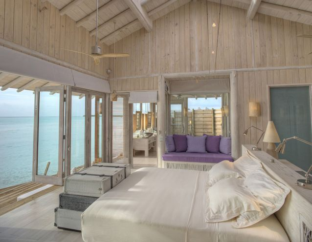 La chambre de l'hôtel Soneva Jani aux Maldives