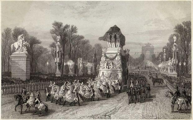 Gravure figurant le char funèbre de Napoléon Ier sur les Champs-Elysées, le 15 décembre 1840
