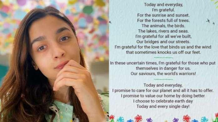 Alia Bhatt pens poem to celebrate Earth Day 2020. Watch video