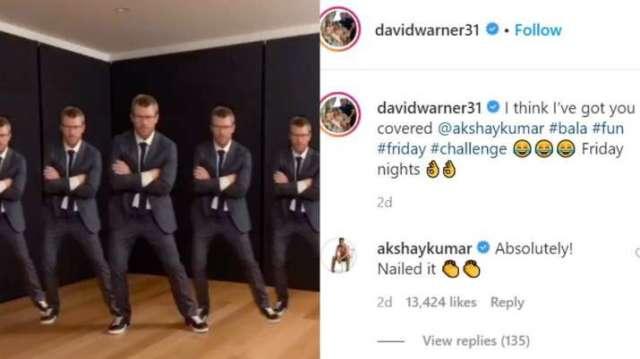 India Tv - Akshay Kumar reacts to cricketer David Warner's TikTok video on Bala song